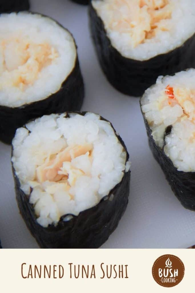 This super easy tuna sushi recipe does not use raw fish but rather canned, making it perfect for camping. #bushcooking #tuna #sushi #tunasushi