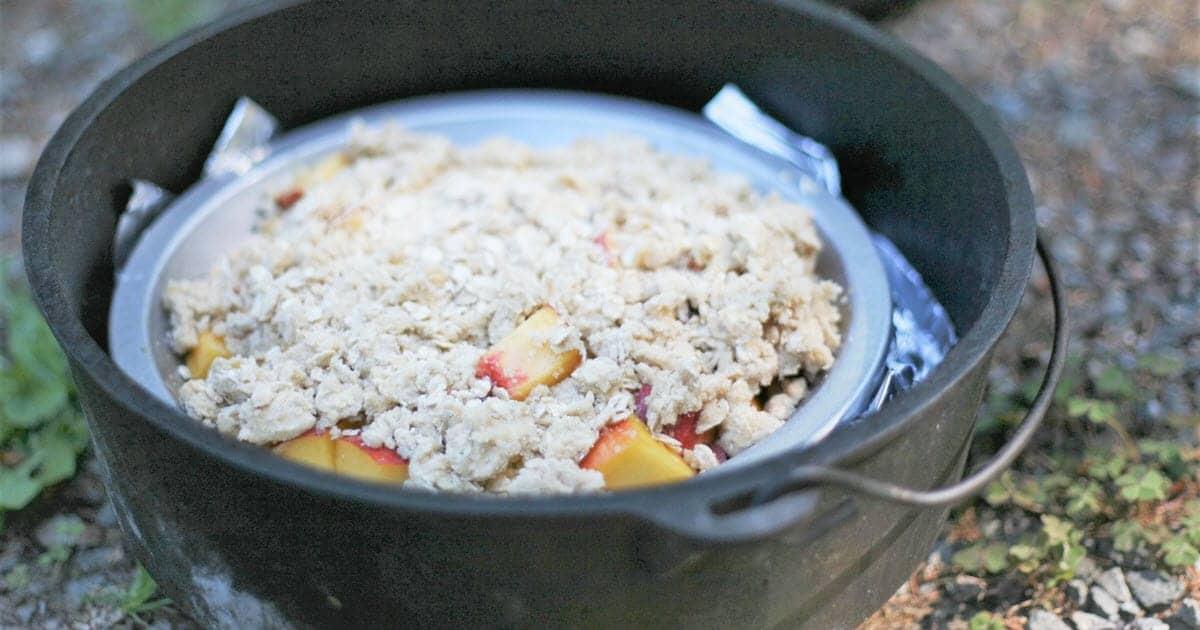 Dutch Oven Peach Crisp Bush Cooking