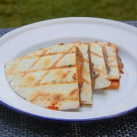 A black bean and salsa quesadilla quartered and served on a camp plate.