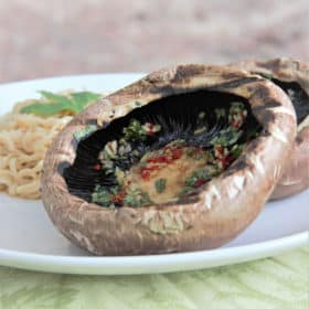 Grilled herb mushrooms served with noodles