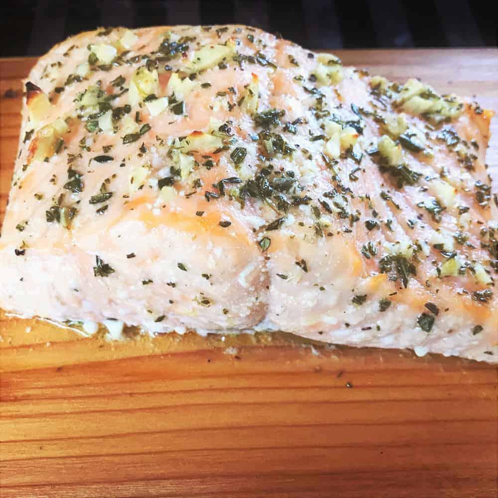 Garlic And Herb Plank Salmon