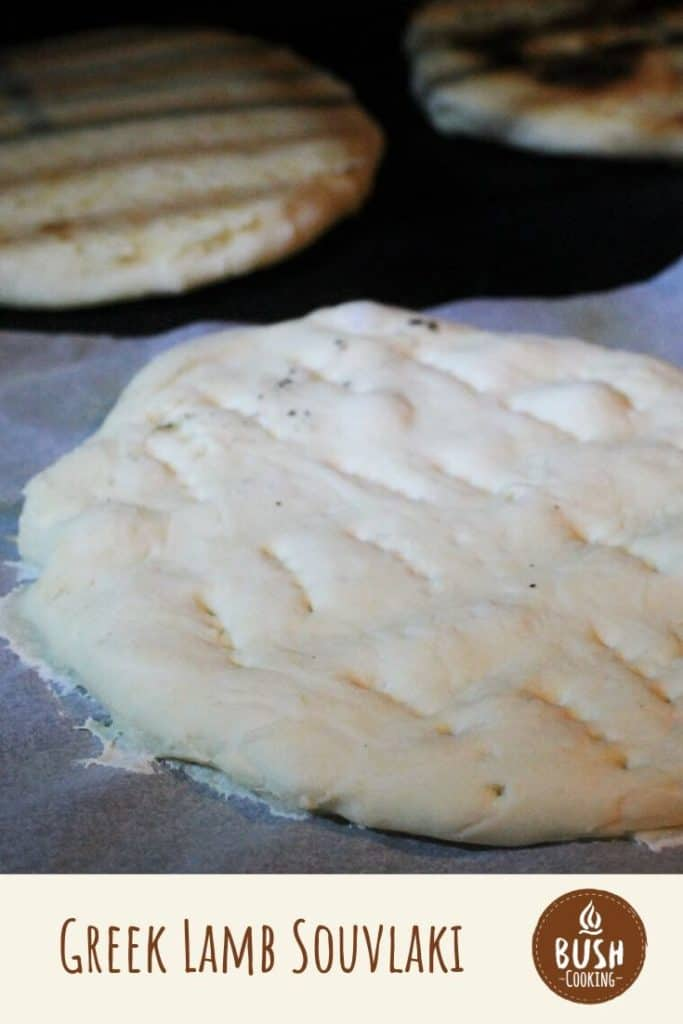 Homemade pita bread is part of this lamb soulvaki recipe that includes the lamb kebab recipe also. #bushcooking #pitabread
