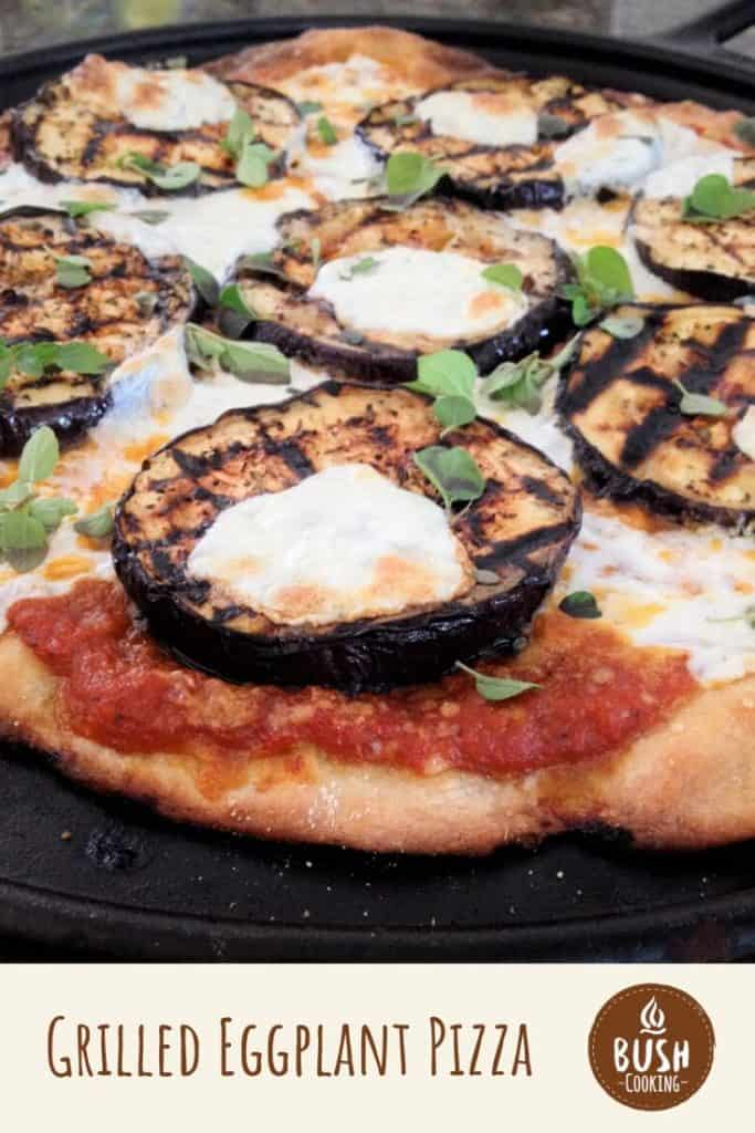 This grilled eggplant pizza uses both parmesan and mozzarella cheese to create the ultimate taste and stringiness. #bushcooking #eggplant #pizza #eggplantpizza
