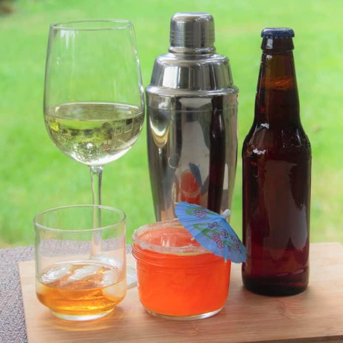 Range of different alcohols