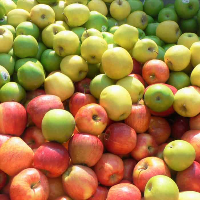 lots of red and green apples