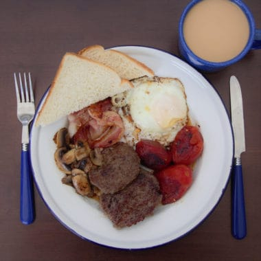 Arial shot of a full English breakfast