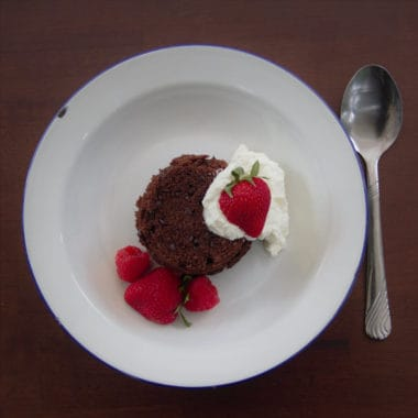 Areal view of a chocolate dessert