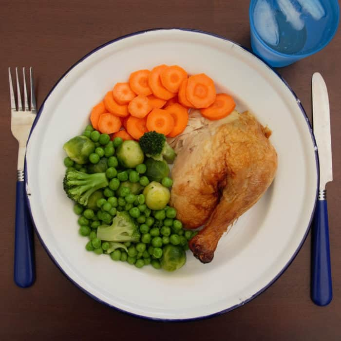 Areal photo of a roast chicken dinner
