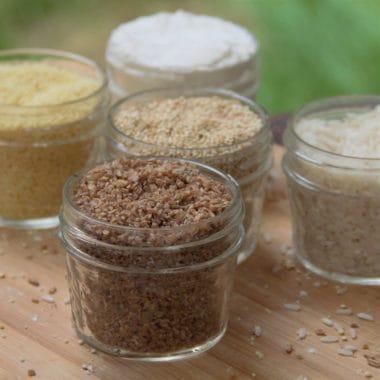 Various grains sitting in jars