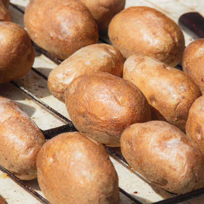 Potatoes after being baked