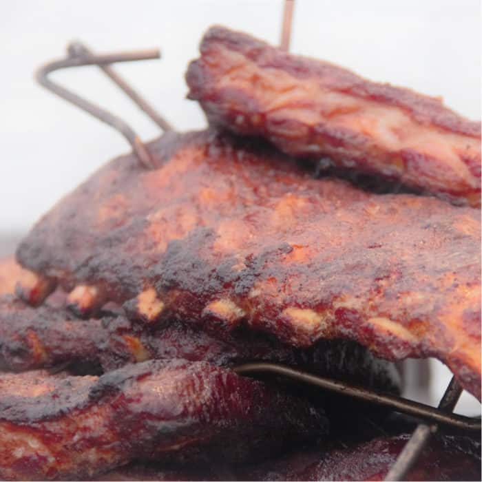 Pile of cooked pork ribs
