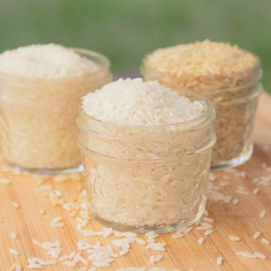 Various rices in jars