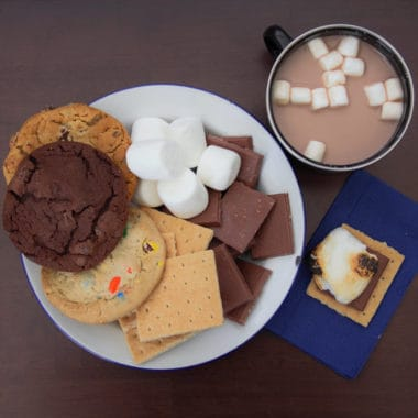 Areal photo od supper options including cookies and s'more ingredients