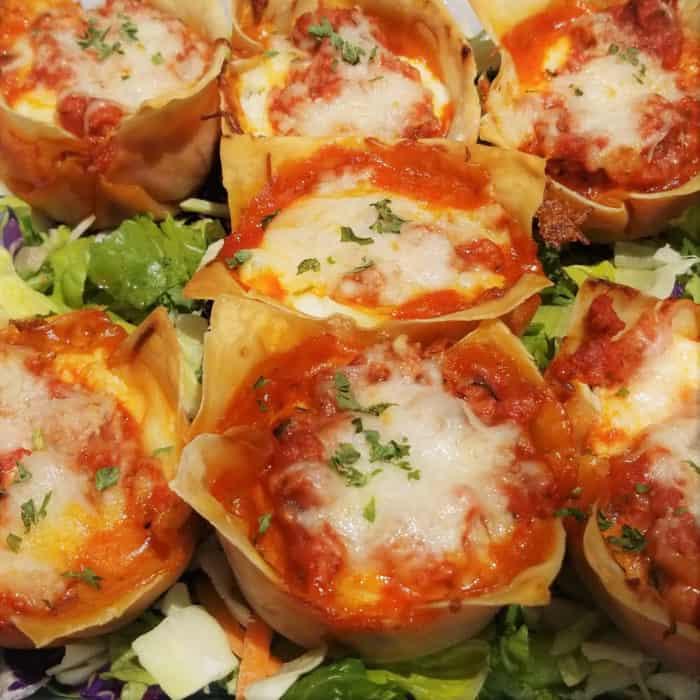 Turkey Lasagna Cups served as finger food.