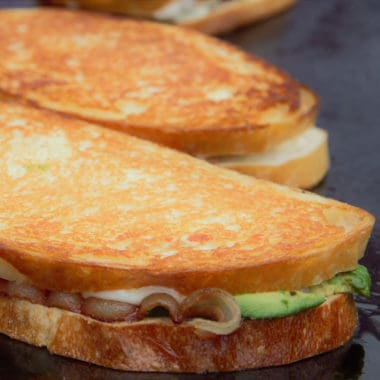 Close up photo of a toasted sandwich