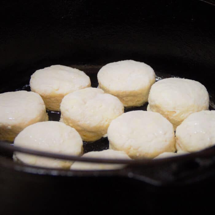 Looking into a Dutch oven filled with raw biscuits ready to be cooked.