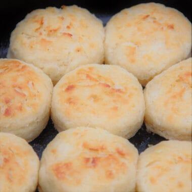Close up of buttermilk biscuits in a Dutch oven