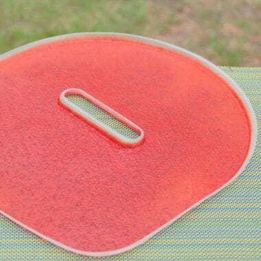 A flat tray from a dehydrator filled with fruit leather sitting on a picnic table