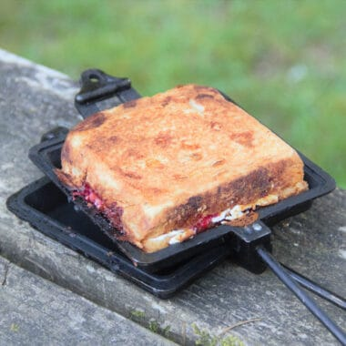 An open pie iro sitting on a picnic table with a golden brown toastie in it