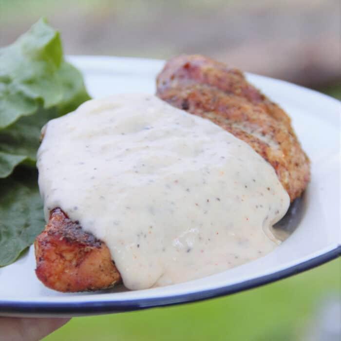Homemade Alabama White Sauce served on a smoked chicken beast.